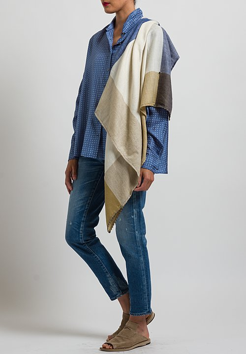 Pero Wool Rumal Border Scarf in Beige / Blue