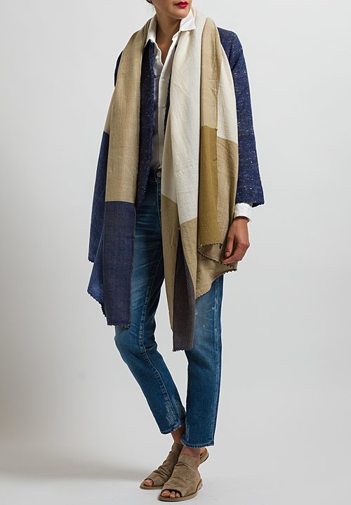 Pero Wool Lungi Border Scarf in Biege / Blue