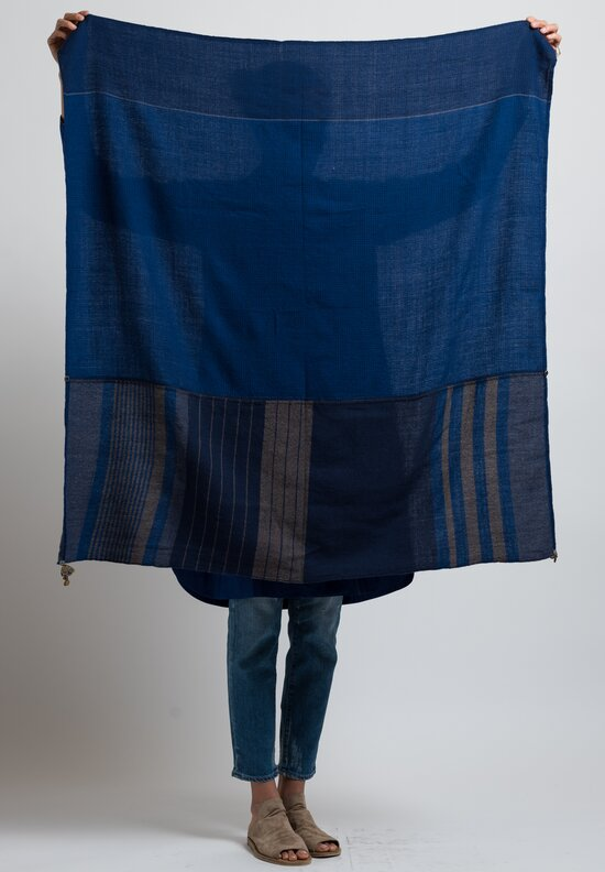 Pero Wool Lungi Striped Edge Scarf in Navy
