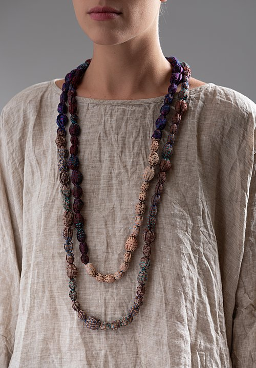 Mieko Mintz Vintage Silk Tie-Bead Necklace in Natural / Purple