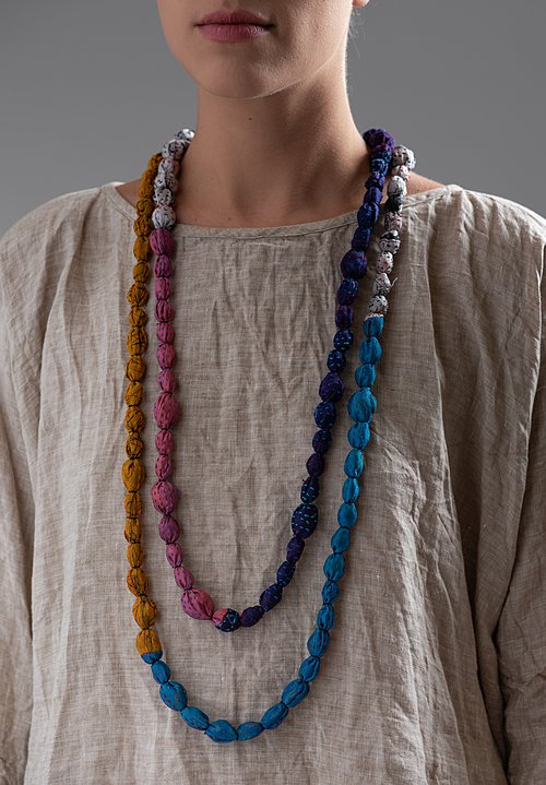 Mieko Mintz Vintage Silk Tie-Bead Necklace in Multi
