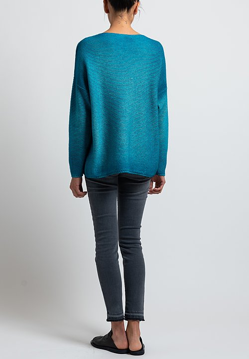Avant Toi Hand-Painted V-Neck Sweater in Turchese