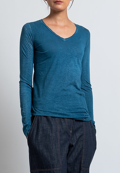Avant Toi Long Sleeve V-Neck T-Shirt in Deep