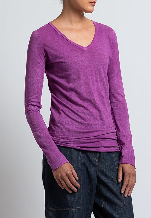 Avant Toi Long Sleeve V-Neck T-Shirt in Magenta