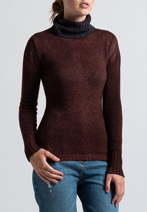 Avant Toi Fitted Turtleneck Sweater in Brown