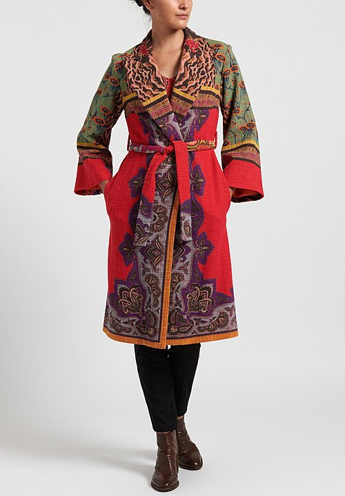 Etro Paisley Print Coat in Orange Multi