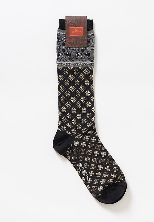 Etro Diamond Paisley Socks in Black