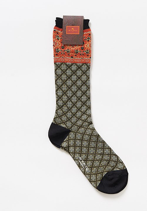 Etro Diamond Paisley Socks in Olive