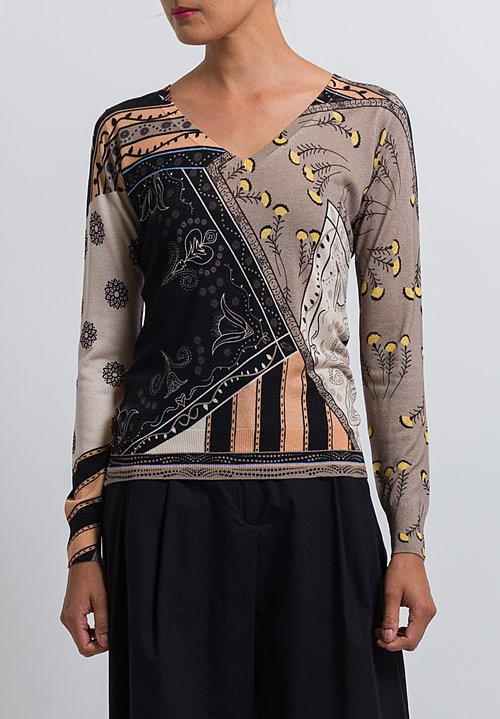 Etro Silk/ Cashmere Sweater in Light Brown