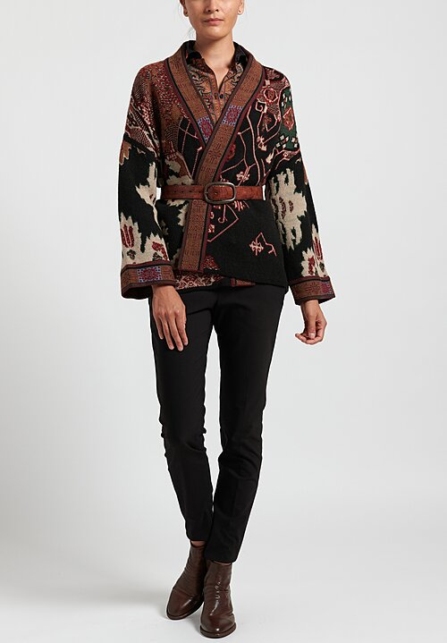 Etro Relaxed Cardigan in Black/ Brown