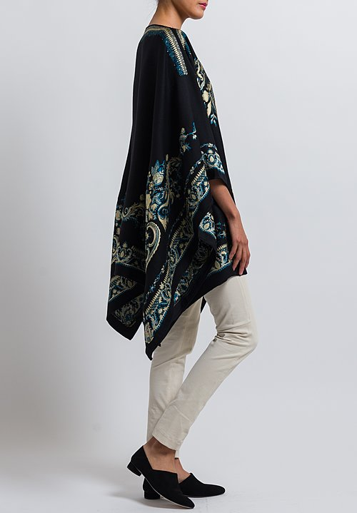 Etro Wool Blend Embroidered Poncho in Black/ Cream