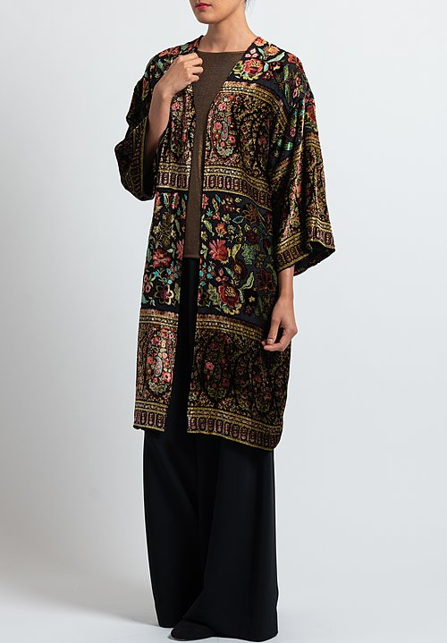 Etro Velvet Floral Coat in Black