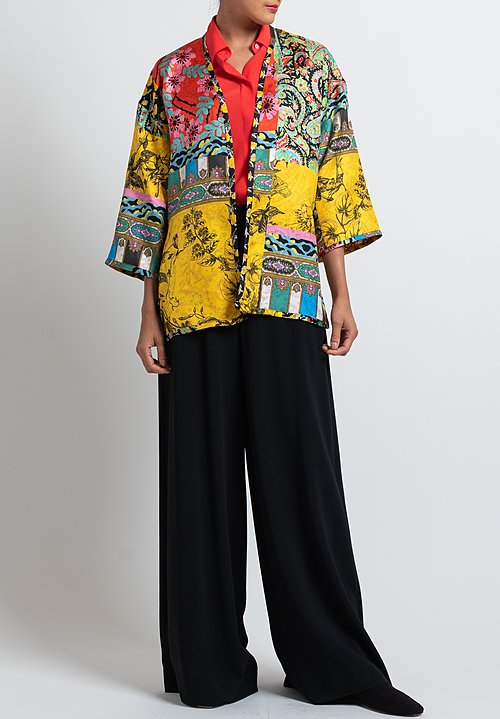 Etro Reversible Floral Jacket in Yellow/ Fushia