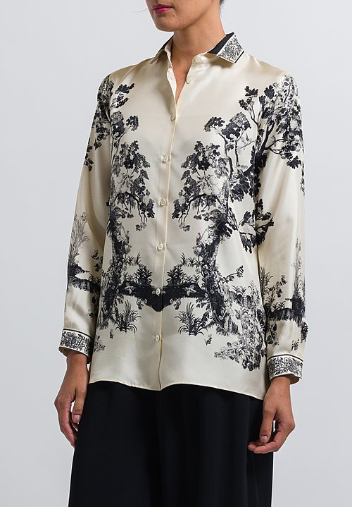 Etro Trees & Floral Printed Shirt in White/ Black
