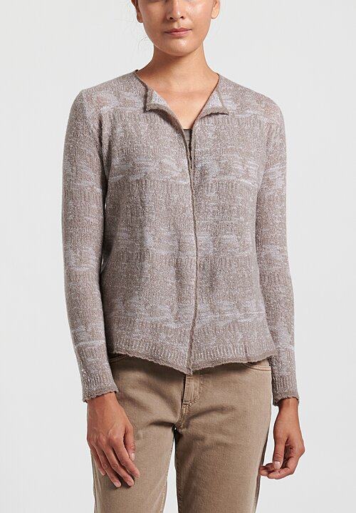 Lainey Cashmere Lightweight Semi-Fitted Cardigan in Taupe/ White