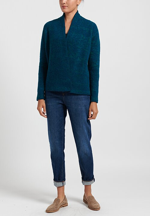 Lainey Keogh Belted Cardigan in Fairisle/ Teal