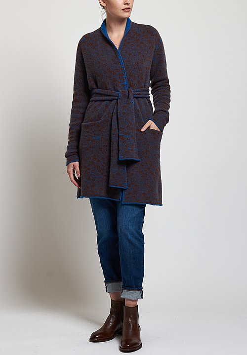 Lainey Keogh Long Belted Cardigan in Turquoise/ Brown