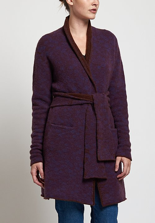 Lainey Keogh Roll Neck Long Belted Cardigan in Brown/purple