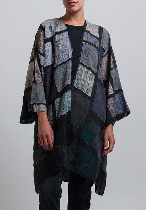Mieko Mintz 2-Layer Tile Patch Kimono Duster in Grey