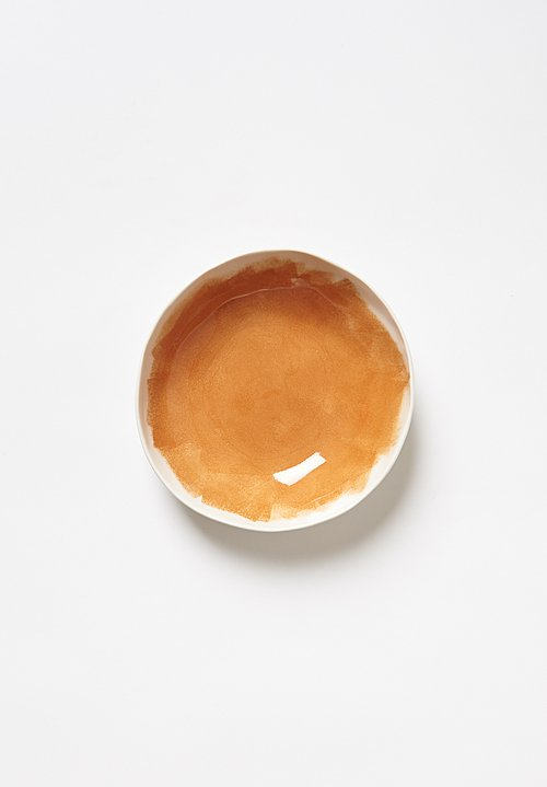 Bertozzi Brush Interior Shallow Porcelain Bowl in Arancione