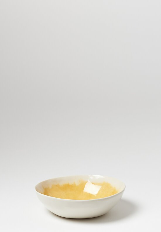 Bertozzi Brush Interior Shallow Porcelain Bowl in Gold