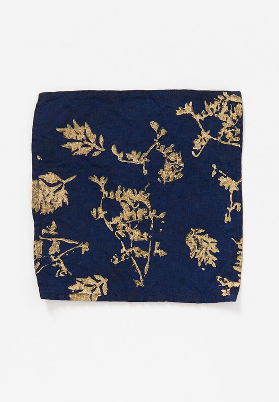Bertozzi Metallic Linen Cocktail Napkin in Leaves / Blue