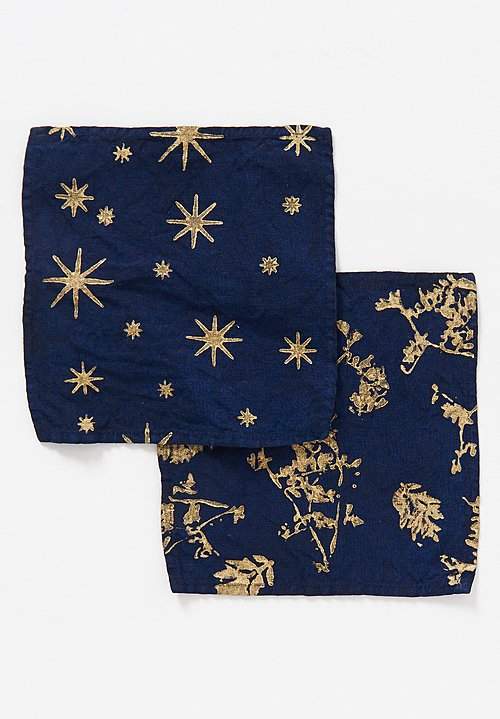 Bertozzi Metallic Linen Cocktail Napkin in Stars / Blue
