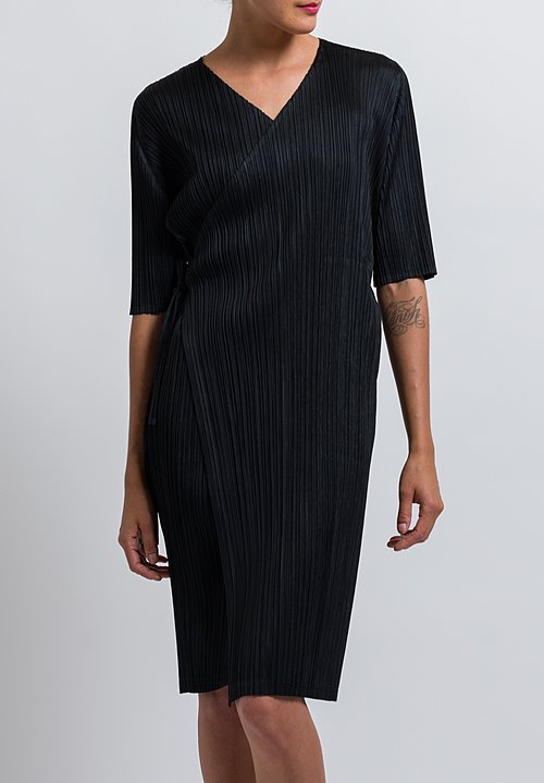 Pleats Please Wrap Dress in Black