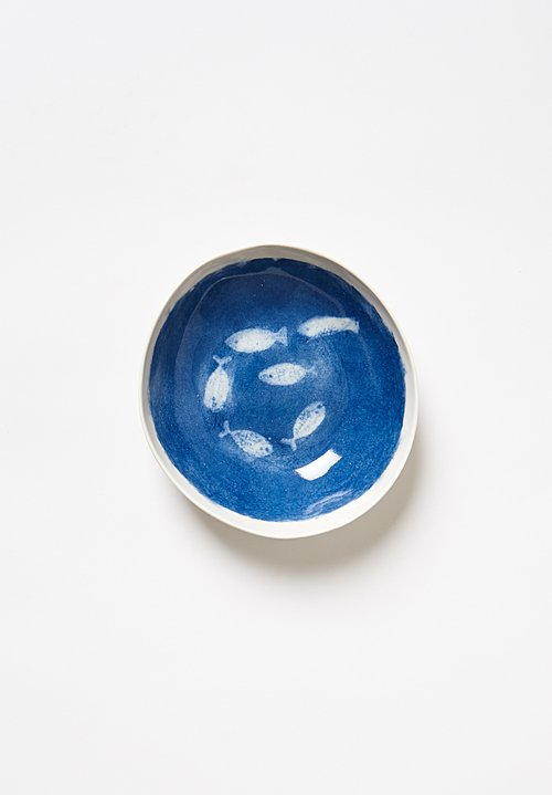 Bertozzi Porcelain Painted Shallow Bowl in Blu Anchovies