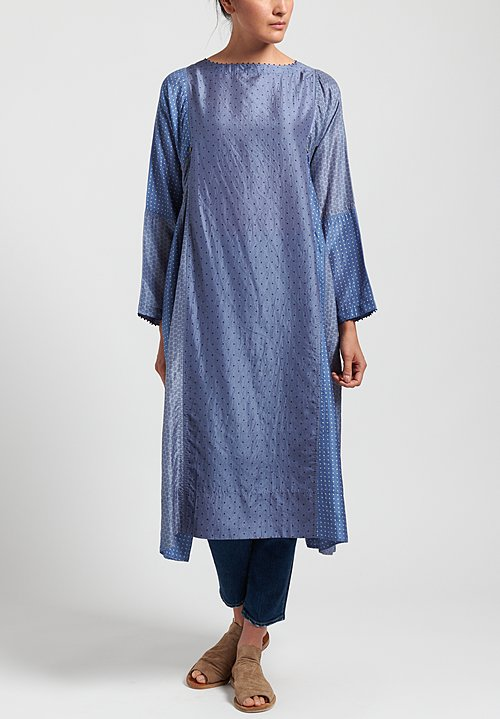 Péro Button-Down Tunic Dress in Blue