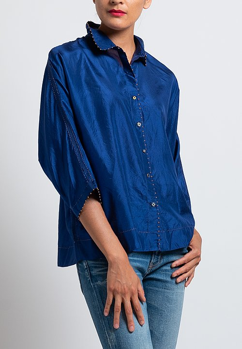 Péro Relaxed Silk Shirt in Cobalt