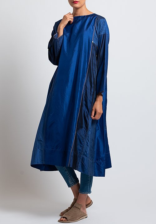 Péro Silk Button-Down Tunic Dress in Cobalt