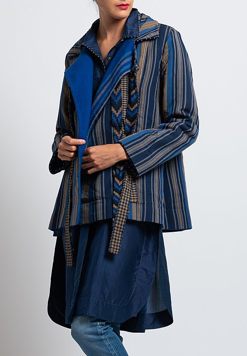 Péro Reversible Wool/ Cotton Coat in Cobalt/ Stripes