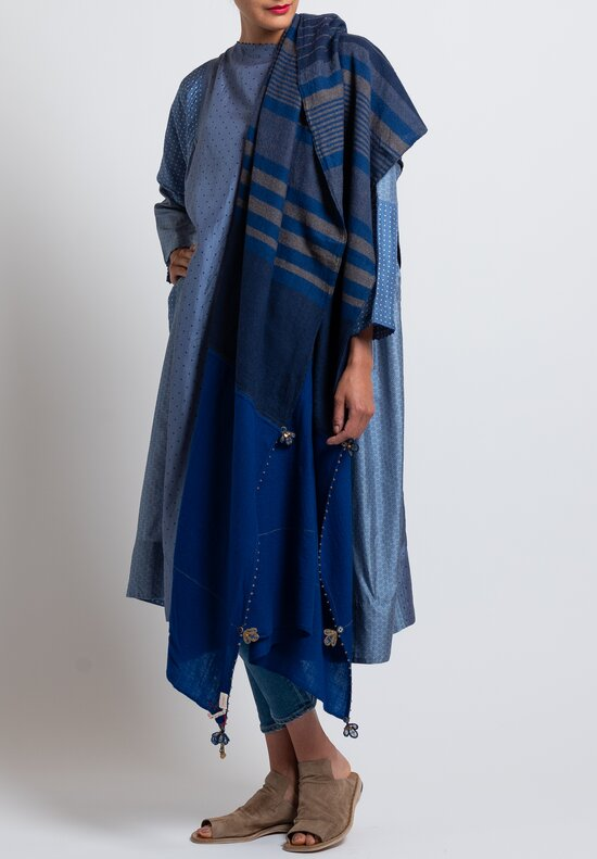 Pero Large Wool Lungi Scarf in Cobalt