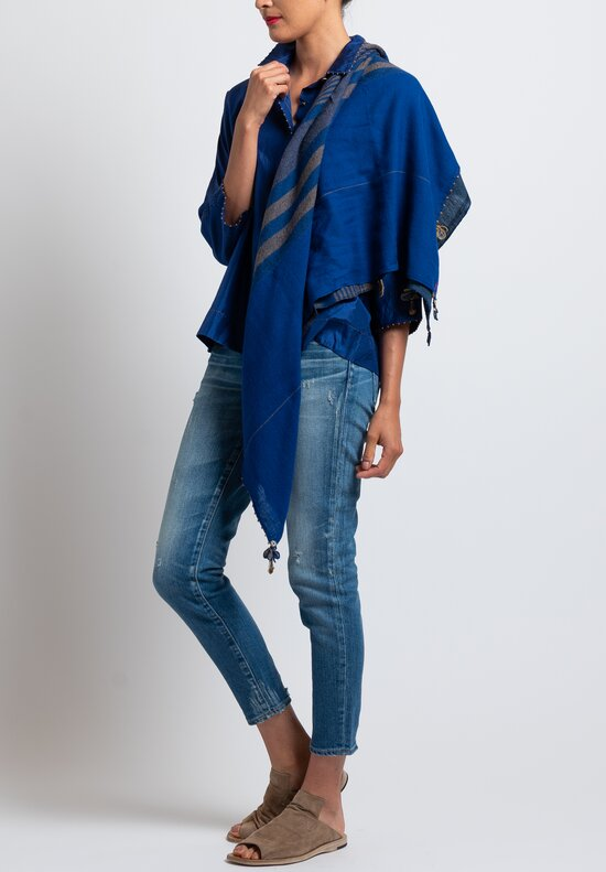 Pero Square Wool Lungi Scarf in Cobalt