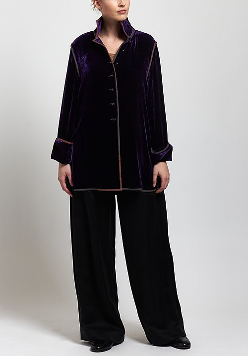 Sophie Hong Short Velvet Jacket in Violet