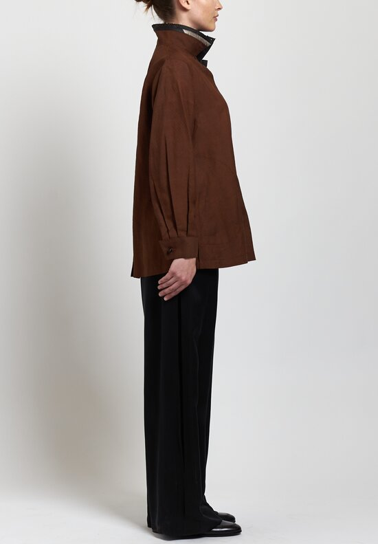 Sophie Hong Silk Jacquard Pearl Collar Relaxed Shirt in Coffee