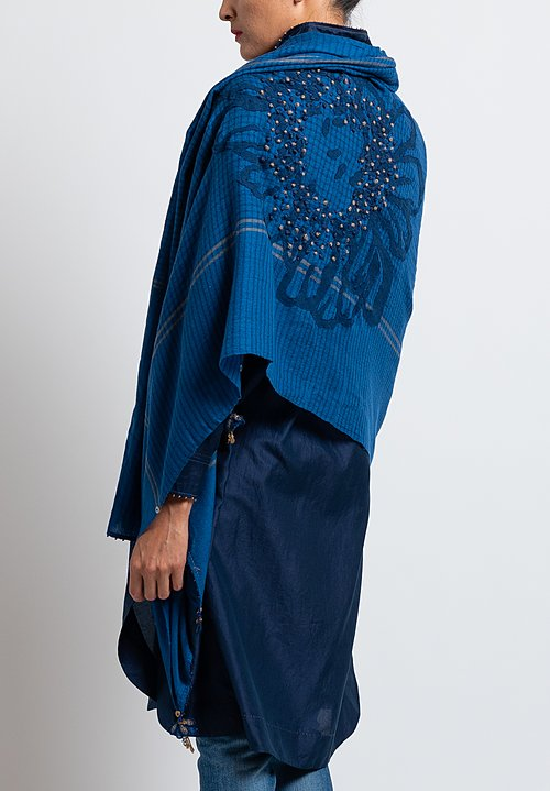 Pero Embroidered Flower Lungi Scarf in Blue
