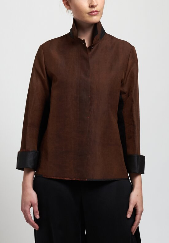 Sophie Hong Smooth Silk Top in Coffee