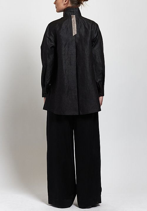 Sophie Hong Silk Smooth Relaxed Shirt in Black