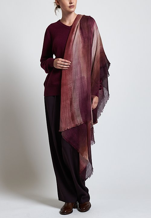 Alonpi Cashmere Hand Painted Vannes Scarf in Purple Ombre