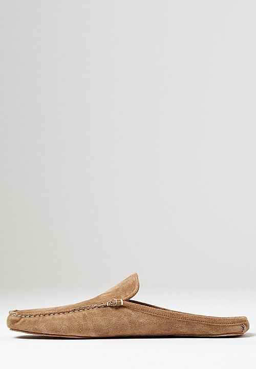 Alonpi Suede Megeve Mule Slippers in Light Brown