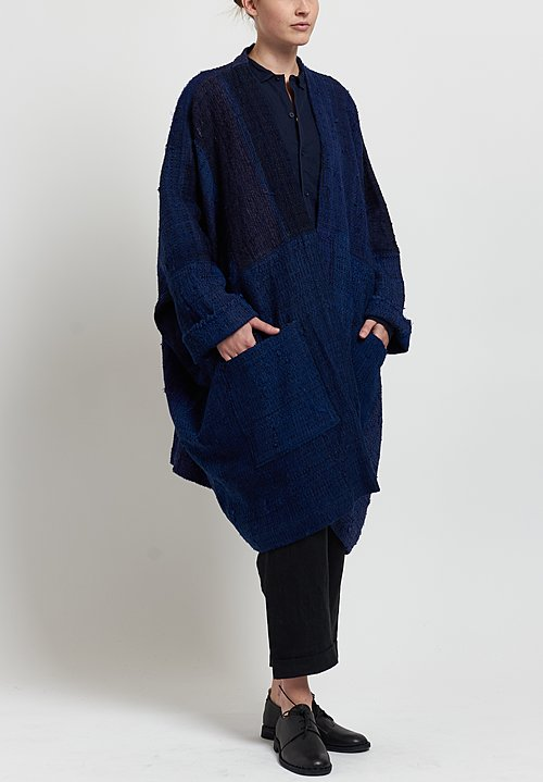 Kaval Japanese Vintage Silk Woven Haori Big Coat in Indigo