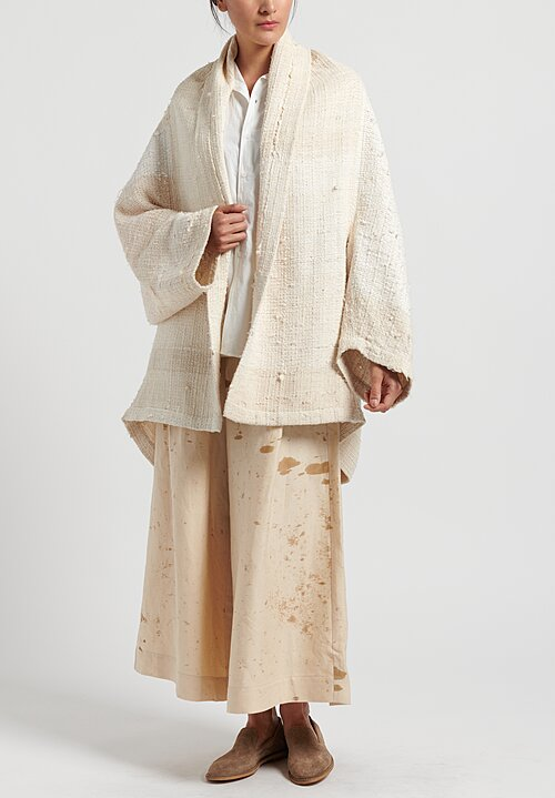 Kaval Japanese Vintage Silk Woven Haori Coat in Natural