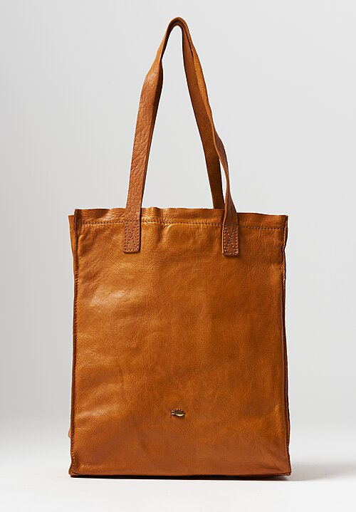 Campomaggi Leather Shopping Tote in Yellow