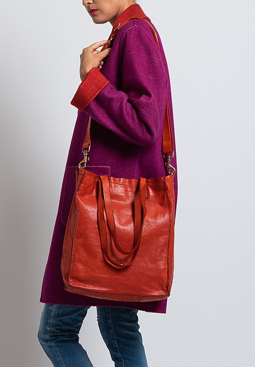 Campomaggi Leather Shopping Tote in Orange