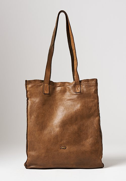 Campomaggi Leather Shopping Tote in Military