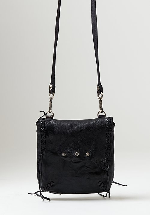 Campomaggi Stitched Accent Small Crossbody Bag in Black