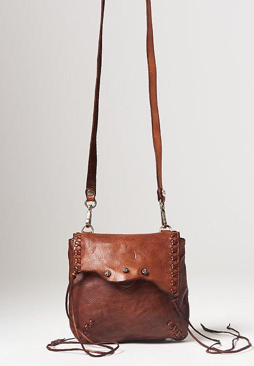 Campomaggi Leather Stitched Small Crossbody Bag in Cognac