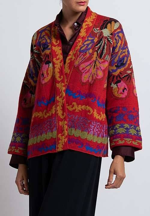 Etro Wool Blend Floral Cardigan in Red